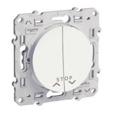 Poussoir blanc 2 boutons + fonction stop pour volets-roulants