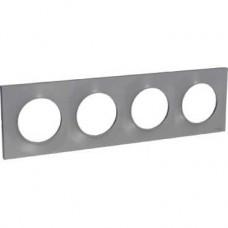 Plaque 4 postes horiz./vert. entraxe 71 mm - Aluminium