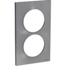 Plaque 2 postes verticaux entraxe 57 mm - Aluminium