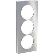 Plaque aluminium martelé avec liseré blanc 3 postes verticaux 57 mm