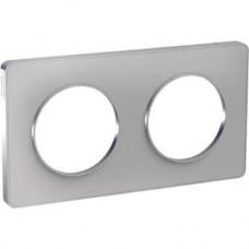 Plaque aluminium 2 postes horizontaux ou verticaux entraxe 71mm