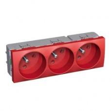 Bloc prises courant fixes 3 postes 16A 2 P + T rouge à détrompage