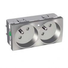Prise double 2P T 45 lumineuse aluminium