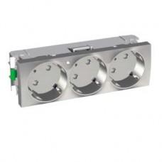 Prise triple allemand 2 P T 45 lumineuse aluminium