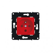 Prise 2P+T à détrompage bornes à vis 16 A avec éclips de protection - Finition de couleur rouge