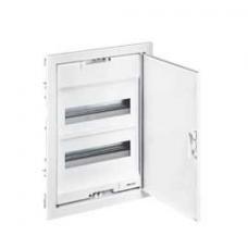 Coffret encastré - porte métal extra plate - 3 rangée - 36+6 mod-blanc RAL 9010
