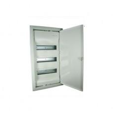 Coffret encastré - porte isolante galbée - 3 rangée - 36+6 modules - blanc RAL 9010
