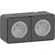 Double prise 2P+T précâblée horiz - saillie - IP55 - IK08 - gris