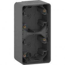 Boîte 2 postes verticale - saillie - IP55 - IK08 - gris