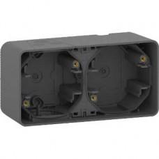 Boîte 2 postes horizontale - saillie - IP55 - IK08 - gris
