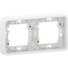 Cadre 2 postes horizontal - encastré - IP55 - IK08 - blanc