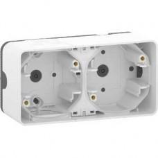Boîte 2 postes horizontale - saillie - IP55 - IK08 - blanc