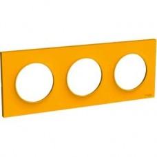 Plaque Ambre 3 postes horizontaux ou verticaux entraxe 71mm