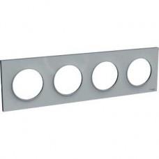 Plaque Gris 4 postes horizontaux ou verticaux entraxe 71mm