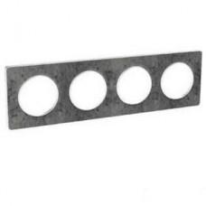 Plaque de finition Touch horizontal ou vertical 4 postes Pierre galet avec liseré Blanc