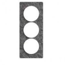 Plaque de finition Touch vertical 3 postes Noir galaxie avec liseré Blanc