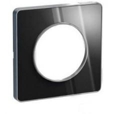 Plaque de finition Touch 1 poste Aluminium brillant fumé avec liseré Alu