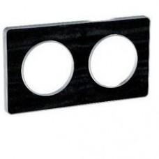 Plaque de finition Touch horizontal ou vertical 2 postes Chêne Astrakan noir avec liseré aluminium
