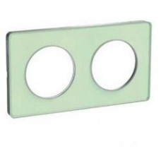 Plaque de finition Touch horizontal ou vertical 2 postes  vert Translucide avec liseré aluminium