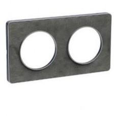 Plaque de finition Touch horizontal ou vertical 2 postes pierre ardoise avec liseré aluminium
