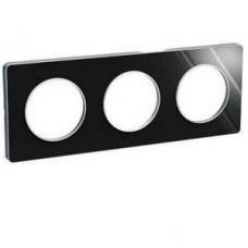 Plaque de finition Touch horizontal ou vertical 3 postes Aluminium brillant fumé avec liseré Alu