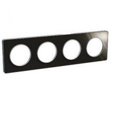 Plaque de finition Touch horizontal ou vertical 4 postes Aluminium brillant fumé avec liseré Alu