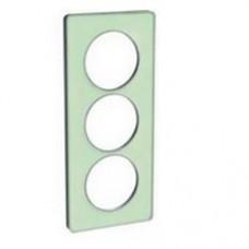 Plaque de finition Touch vertical 3 postes  vert Translucide avec liseré aluminium