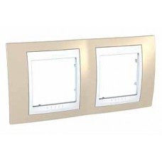Plaque 4M double horizontal sable/Blanc