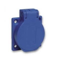 Socle prise domestique NF encastrée 50x50 fixe post bleu IP54 220V 2PT