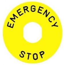 Étiquette circulaire Ø90mm jaune  - LOGO EN13850 - EMERGENCY STOP